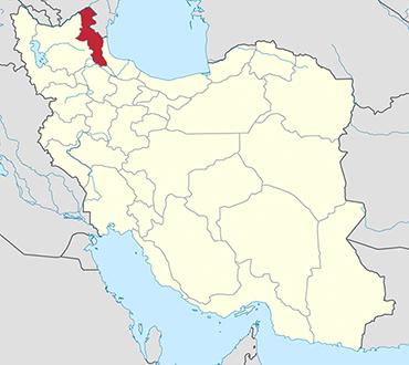 مکان استان اردبیل روی نقشه