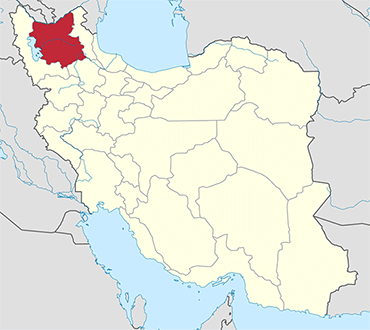 مکان استان آذربایجان شرقی روی نقشه