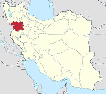 مکان استان کردستان روی نقشه